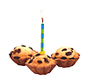 Photo 300 DPI: Birthday cupcake with candle isolated on white.