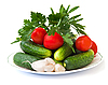 Fresh cucumbers and tomatoes | Stock Foto