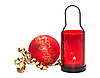 Red candle with Christmas ball | Stock Foto
