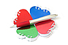 Photo 300 DPI: Four heart-shaped notepad and pen.