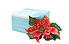 Gift box with Christmas flower | Stock Foto