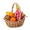 Exotic fruit in wicker basket | Stock Foto