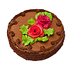 Chocolate cake with two cream-colored roses. Isolated on white. | Stock Foto