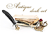 Antique desk set and books | Stock Foto
