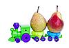 Toy train takes ripe pears | Stock Foto