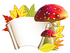 Vector clipart: Autumn greeting card with leaves and mushrooms