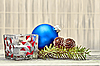 Pine cones and Christmas decorations | Stock Foto