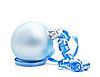 Photo 300 DPI: Blue Christmas ball on white background