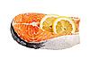 Photo 300 DPI: Salmon fillets with lemon on white