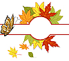Vector clipart: card with autumn leaves and butterflies