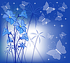 Colorful butterflies and blue flowers | Stock Vector Graphics
