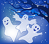 Vector clipart: Three merry ghosts