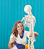 Young girl and the skeleton | Stock Foto