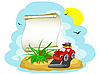 Vector clipart: Red car with the luggage and banner