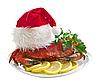 Photo 300 DPI: Crab in Santa Claus hat on platter