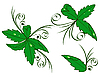 Vector clipart: green leaves with drops of dew