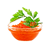 Red caviar with parsley   Stock Foto