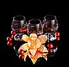 Glasses of wine and tangerine   Stock Foto