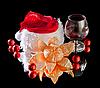 Copas de vino, mandarina y rojo sombrero de la Navidad | Foto de stock