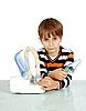 Little boy makes inhalation with nebuliser | Stock Foto