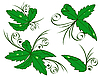 Vector clipart: Set of green leaves with drops of dew