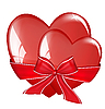 Vector clipart: Two hearts tied with bow