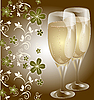 Vector clipart: Wedding card with glasses champagne