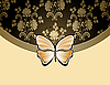 Vector clipart: Beige flower card with the butterfly