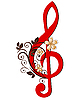 Vector clipart: Treble clef with flower pattern