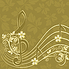 Vector clipart: Musical background with treble clef