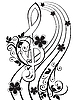 treble clef and flower pattern