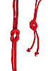 Photo 300 DPI: Red rope with knot on white