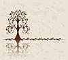 Openwork tree on vintage background