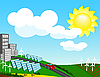 Vector clipart: Landscape with environmentally friendly forms of energy
