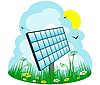 Vector clipart: Solar panel on the meadow