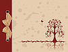 Vector clipart: Openwork tree on vintage background