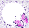 Vector clipart: Vintage frame with pink butterfly