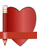 Pencil and paper for notes in shape of heart