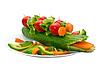 Ogórek przyozdobionym z warzywami w postaci krokodyla   Stock Foto