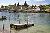 Photo 300 DPI: Mooring for boats on river Rhine. Stein Am Rhein
