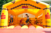 Kids jumping on an inflatable trampoline   Stock Foto