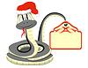Vector clipart: Snake in Santa Claus hat with paper in tail
