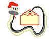 Snake in Nikolausmütze mit Papier im Schwanz