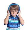 Boy listens to music on headphones. Isolate  | Stock Foto