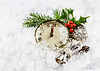 New year hours in snow with winter decoration | Stock Foto