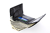 Black wallet with dollars | Stock Foto