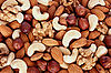 Photo 300 DPI: Assorted nuts (almonds, filberts, walnuts, cashews)