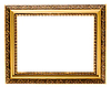 Empty gold plated wooden picture frame isolated | Stock Foto