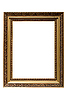Photo 300 DPI: Empty gold plated wooden picture frame isolated