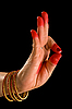 Photo 300 DPI: Woman hand showing Arala hasta (meaning bent) of indian clas